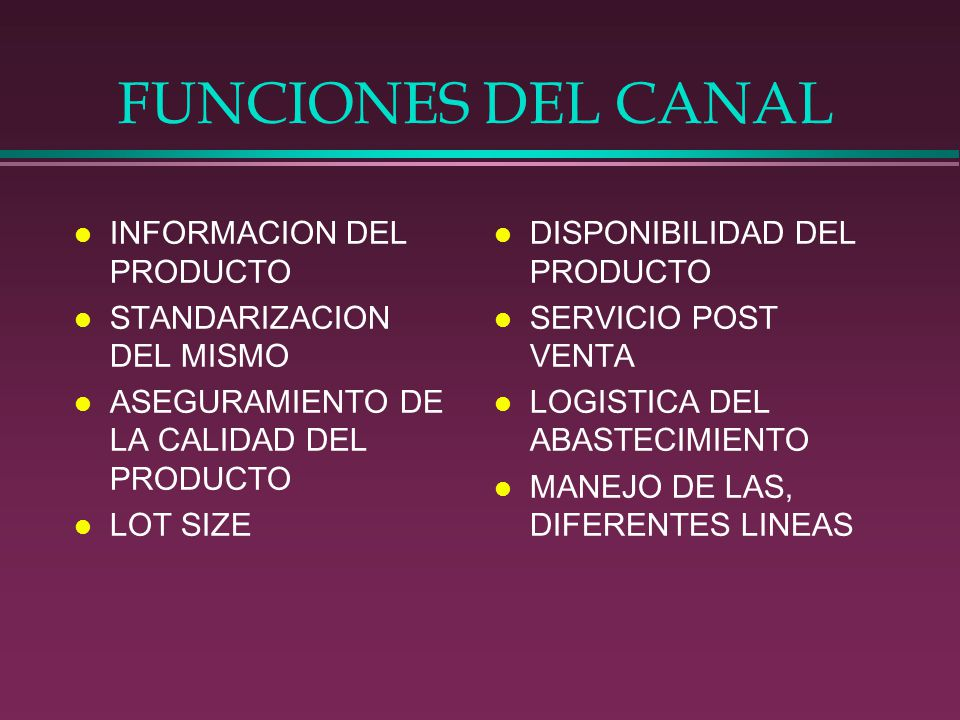 FUNCIONES DEL CANAL INFORMACION DEL PRODUCTO STANDARIZACION DEL MISMO