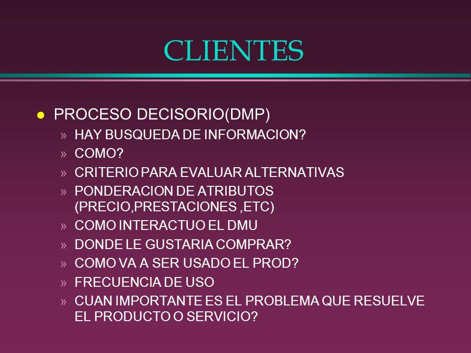 CLIENTES PROCESO DECISORIO(DMP) HAY BUSQUEDA DE INFORMACION COMO