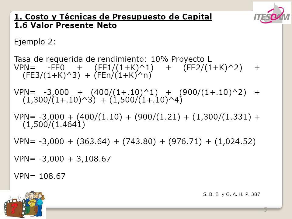 1. Costo y Técnicas de Presupuesto de Capital 1.6 Valor Presente Neto
