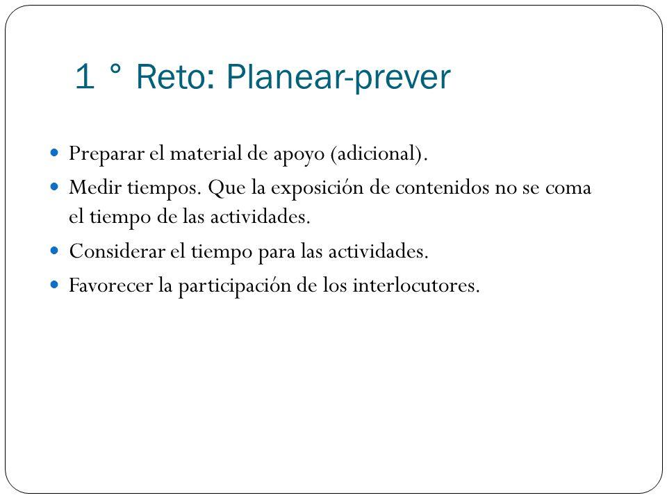 1 ° Reto: Planear-prever