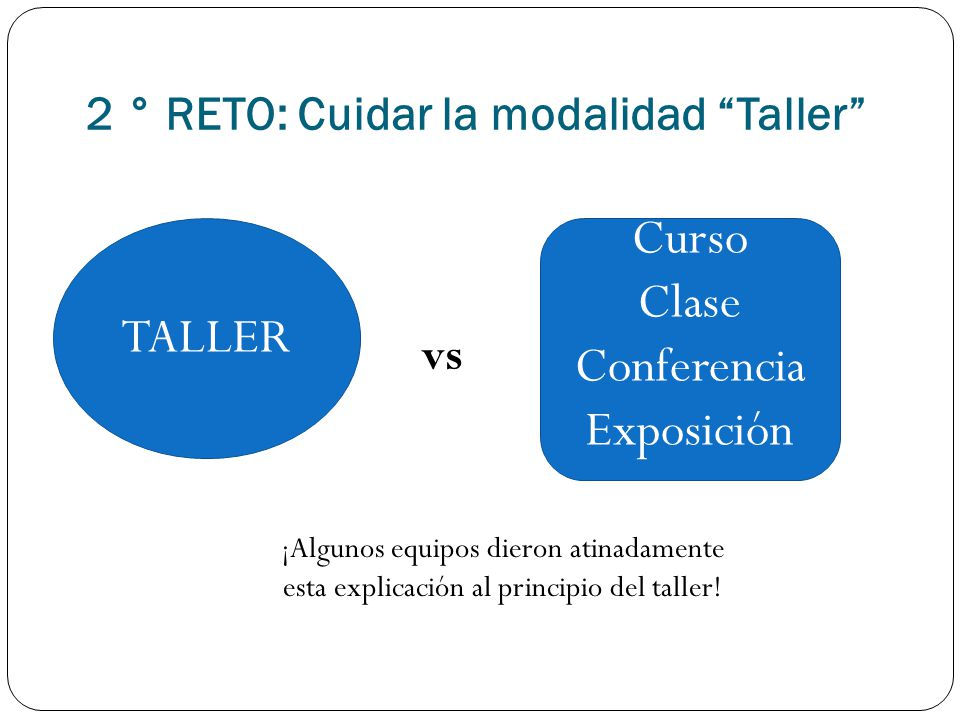 2 ° RETO: Cuidar la modalidad Taller
