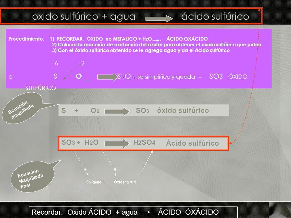 oxido sulfúrico + agua ácido sulfúrico