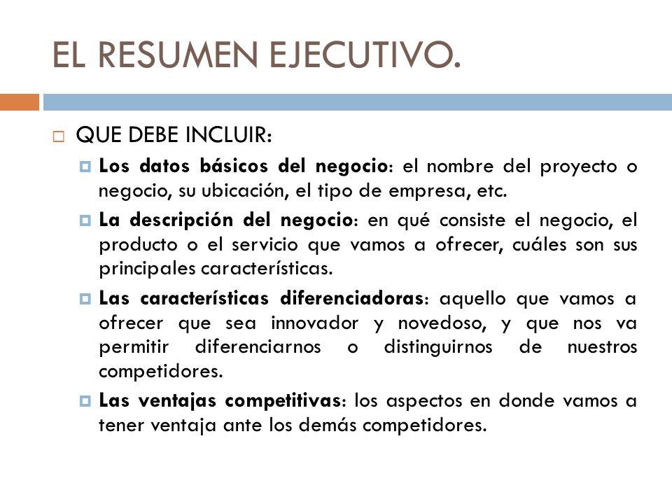 EL RESUMEN EJECUTIVO. QUE DEBE INCLUIR: