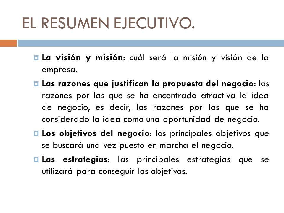 EL RESUMEN EJECUTIVO. La visión y misión: cuál será la misión y visión de la empresa.