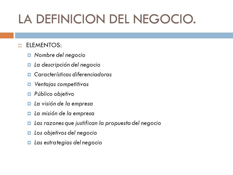 LA DEFINICION DEL NEGOCIO.