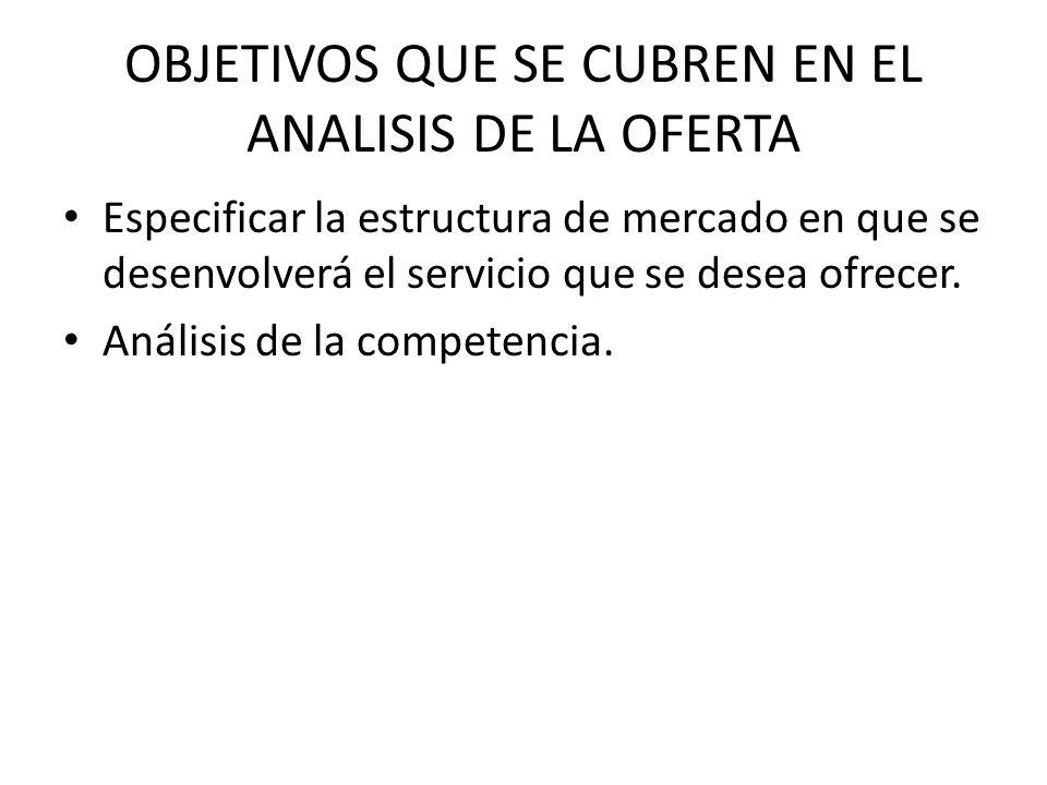 OBJETIVOS QUE SE CUBREN EN EL ANALISIS DE LA OFERTA