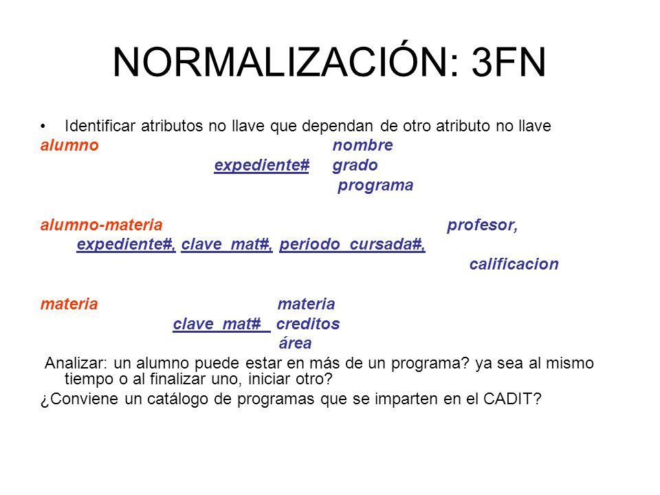NORMALIZACIÓN: 3FN Identificar atributos no llave que dependan de otro atributo no llave.