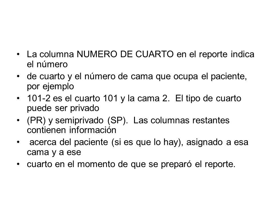 La columna NUMERO DE CUARTO en el reporte indica el número