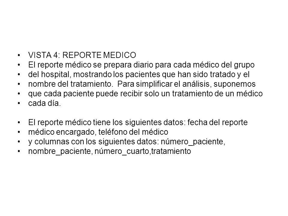 VISTA 4: REPORTE MEDICO El reporte médico se prepara diario para cada médico del grupo.