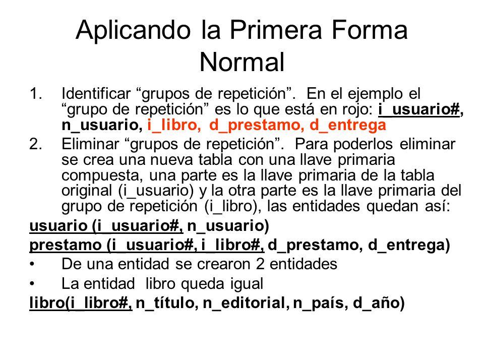 Aplicando la Primera Forma Normal