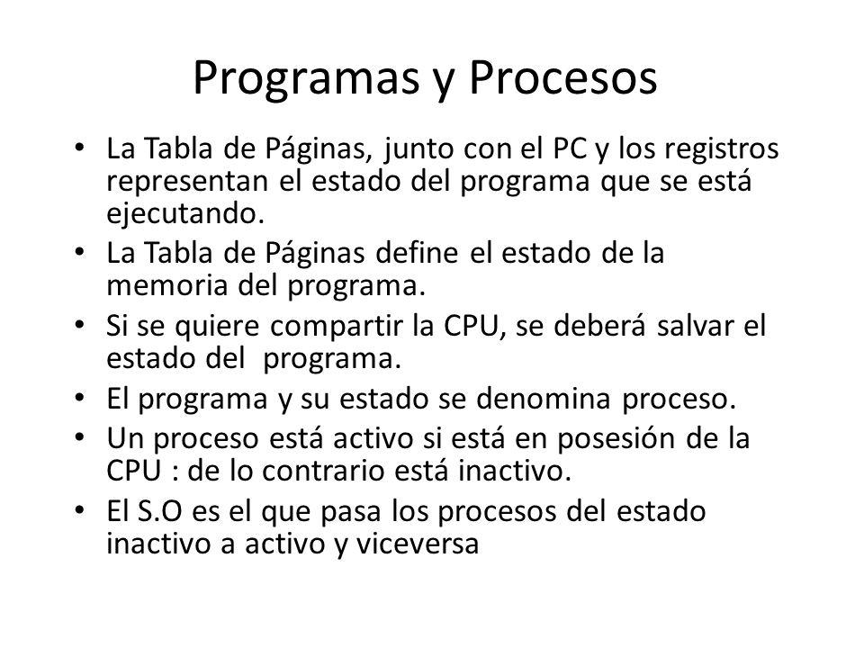 Programas y Procesos La Tabla de Páginas, junto con el PC y los registros representan el estado del programa que se está ejecutando.