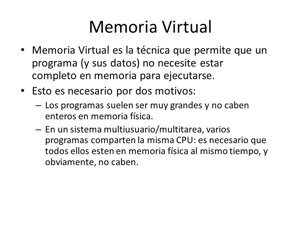 Memoria Virtual Memoria Virtual es la técnica que permite que un programa (y sus datos) no necesite estar completo en memoria para ejecutarse.