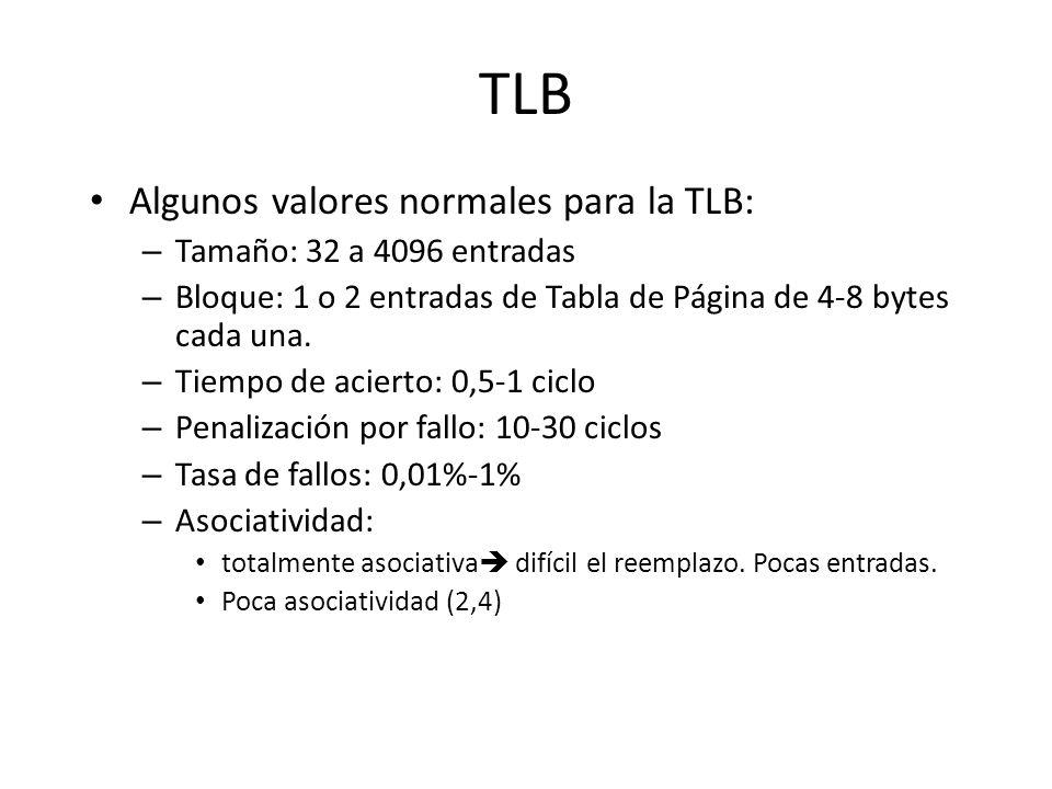 TLB Algunos valores normales para la TLB: Tamaño: 32 a 4096 entradas