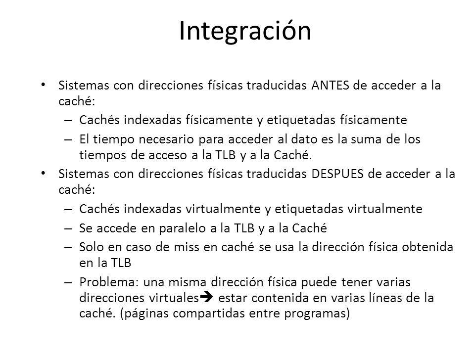 Integración Sistemas con direcciones físicas traducidas ANTES de acceder a la caché: Cachés indexadas físicamente y etiquetadas físicamente.