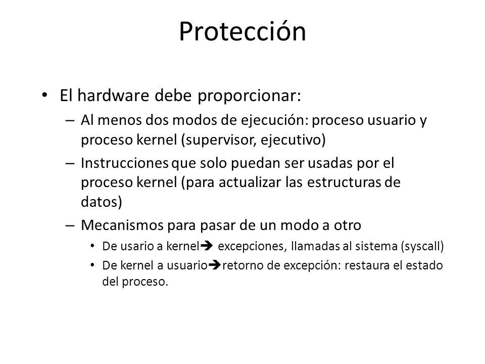 Protección El hardware debe proporcionar: