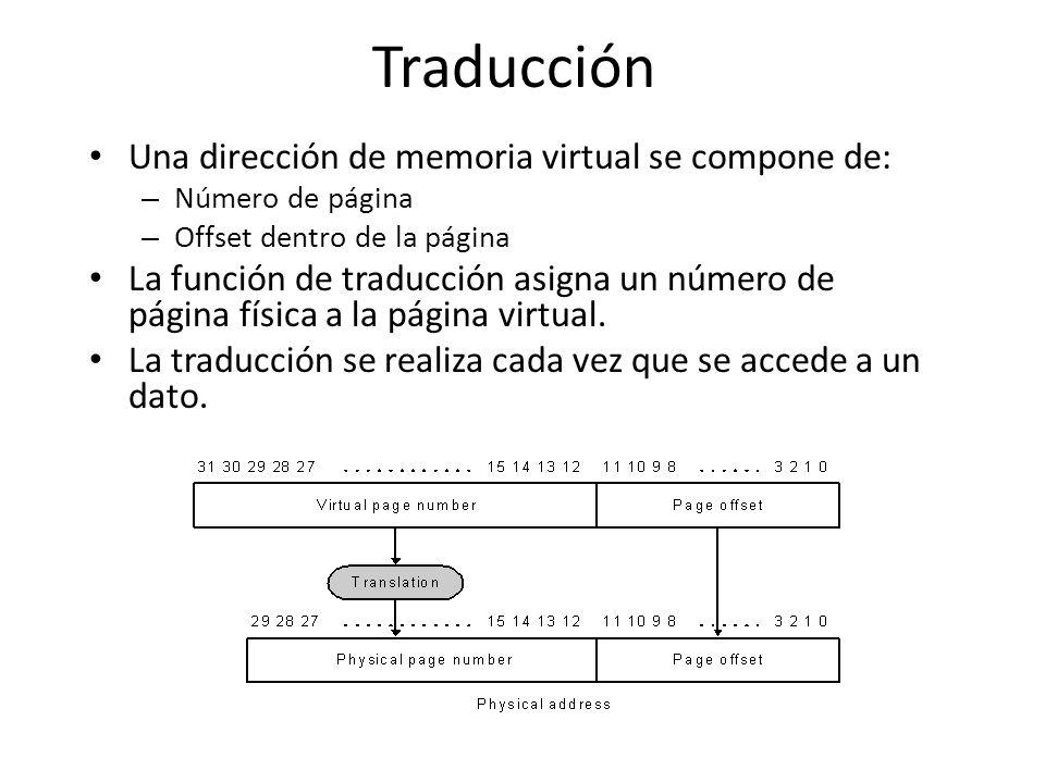 Traducción Una dirección de memoria virtual se compone de: