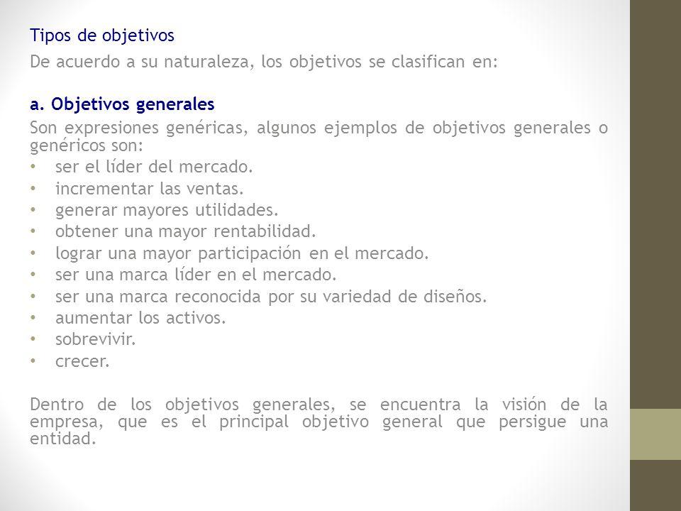 Tipos de objetivos De acuerdo a su naturaleza, los objetivos se clasifican en: a. Objetivos generales.