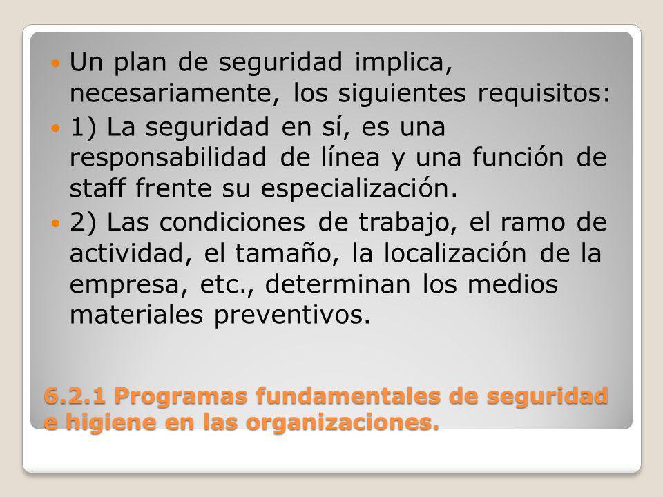 Un plan de seguridad implica, necesariamente, los siguientes requisitos: