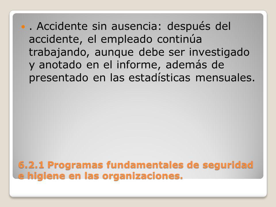 . Accidente sin ausencia: después del accidente, el empleado continúa trabajando, aunque debe ser investigado y anotado en el informe, además de presentado en las estadísticas mensuales.