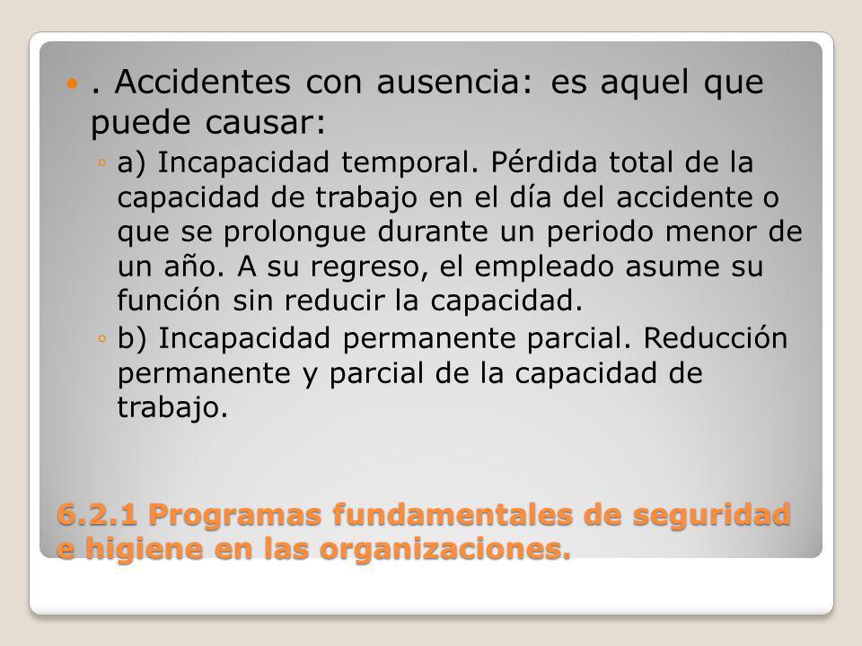 . Accidentes con ausencia: es aquel que puede causar: