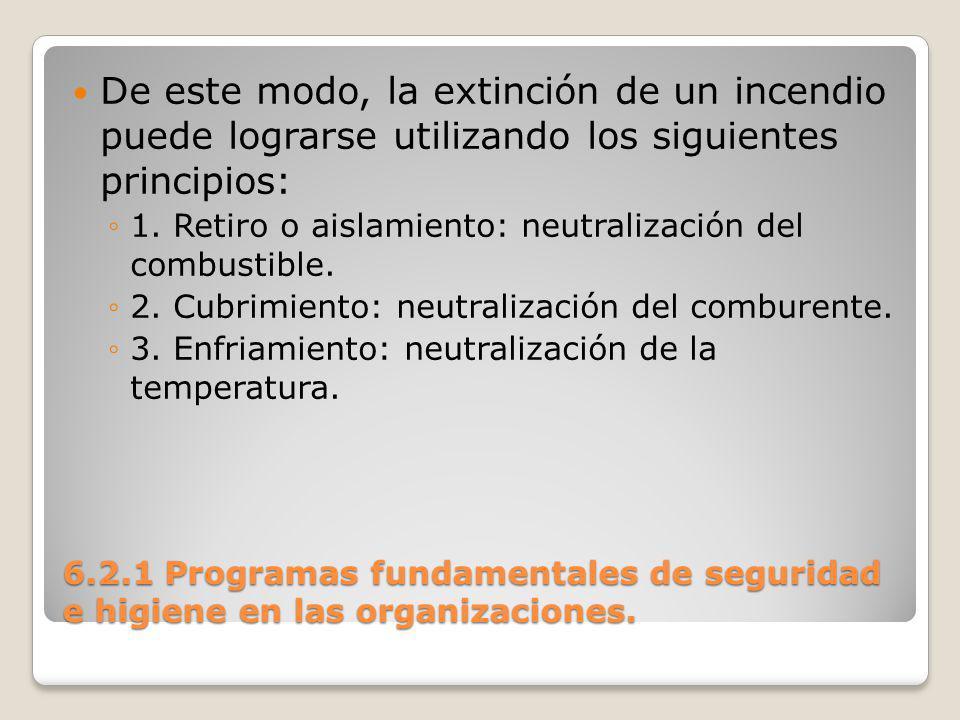 De este modo, la extinción de un incendio puede lograrse utilizando los siguientes principios:
