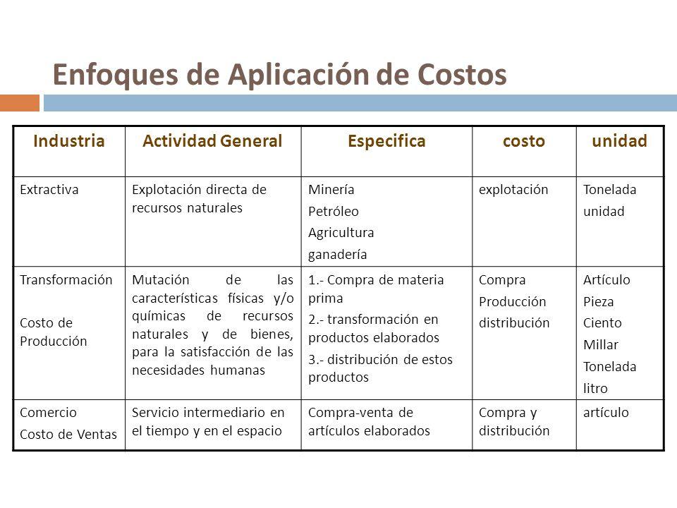 Enfoques de Aplicación de Costos