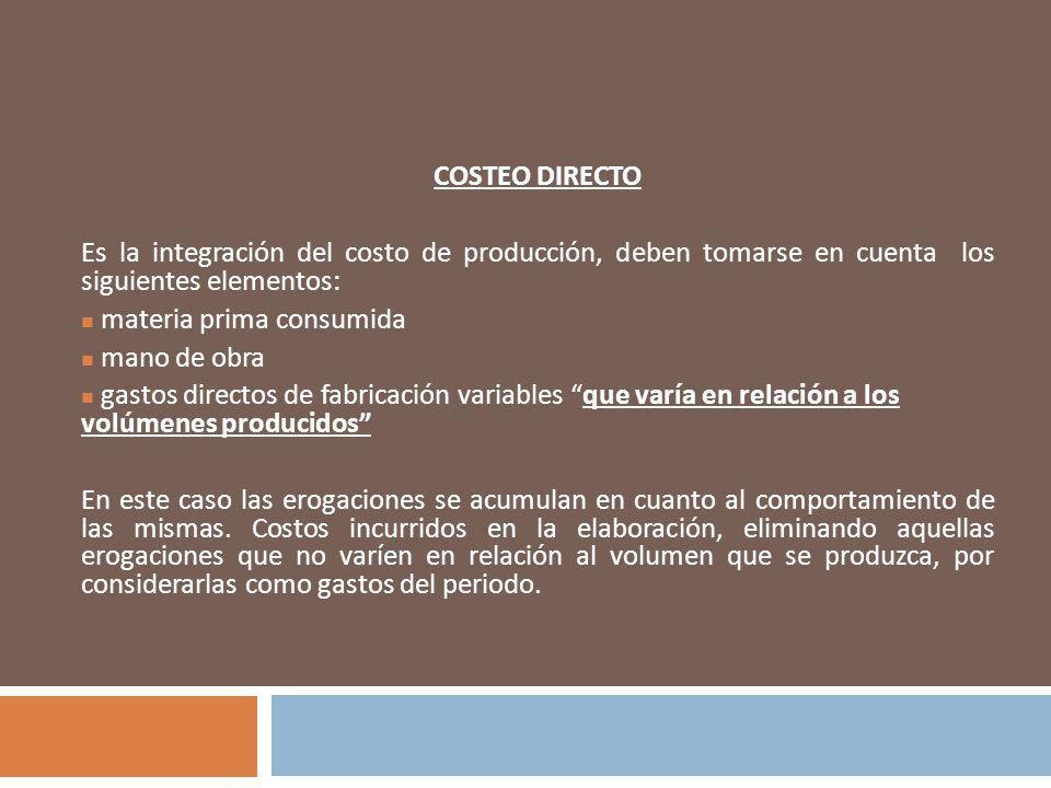 COSTEO DIRECTO Es la integración del costo de producción, deben tomarse en cuenta los siguientes elementos: