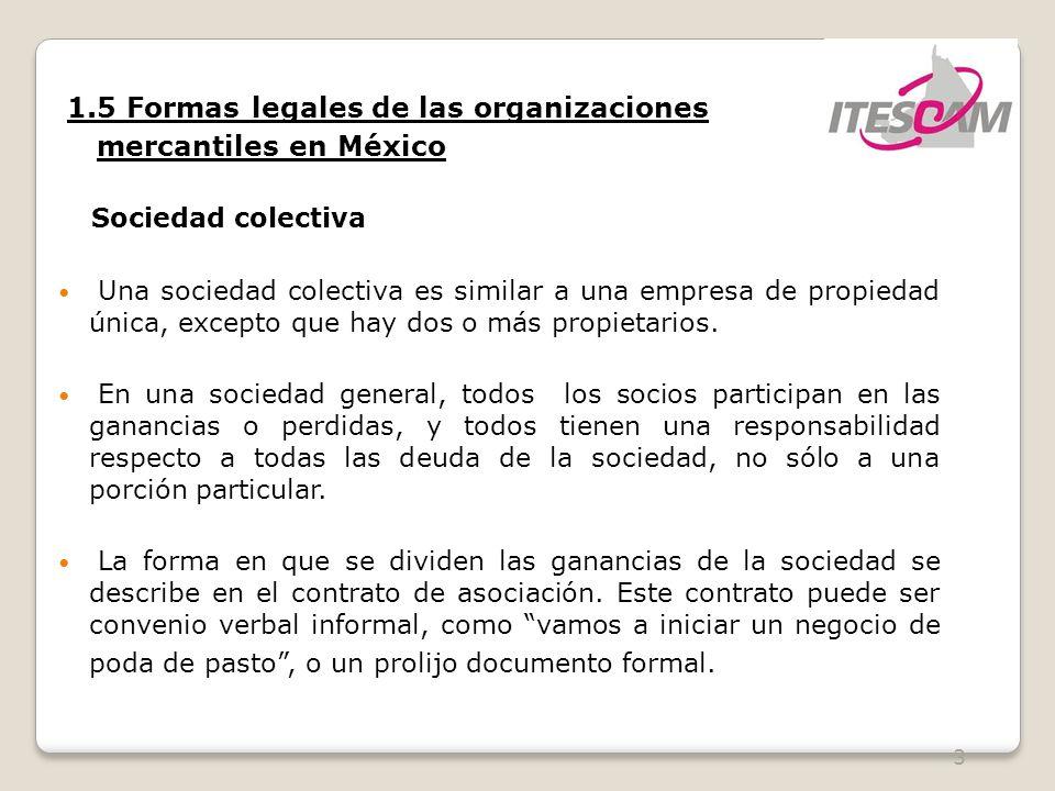 mercantiles en México 1.5 Formas legales de las organizaciones