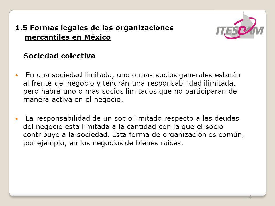 1.5 Formas legales de las organizaciones mercantiles en México