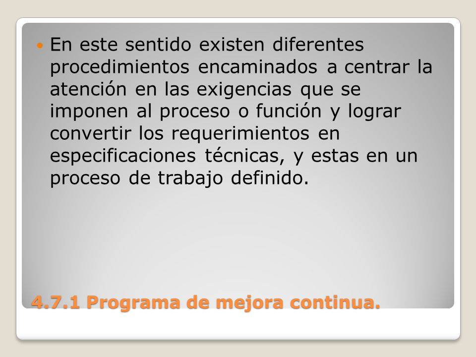 4.7.1 Programa de mejora continua.