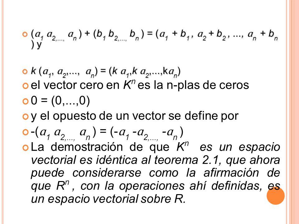 el vector cero en Kn es la n-plas de ceros 0 = (0,...,0)