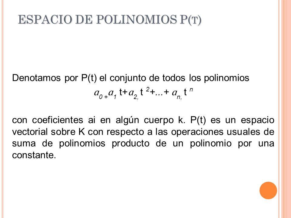 ESPACIO DE POLINOMIOS P(t)