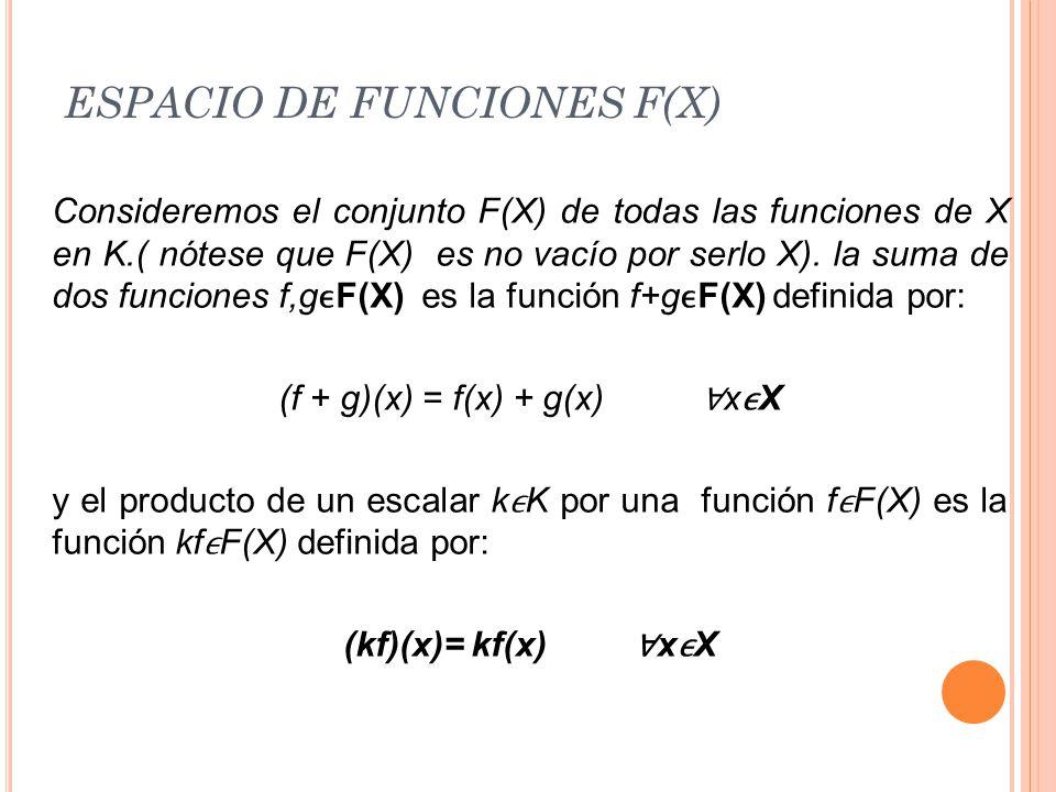 ESPACIO DE FUNCIONES F(X)