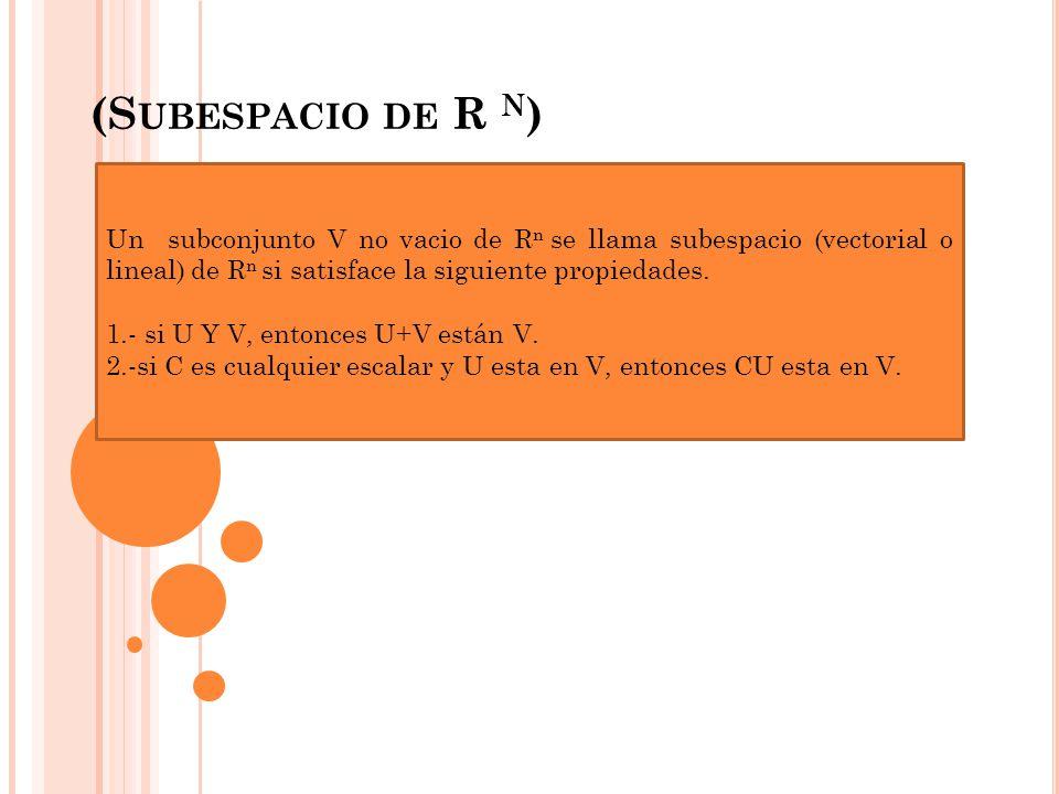 (Subespacio de R n) Un subconjunto V no vacio de Rn se llama subespacio (vectorial o lineal) de Rn si satisface la siguiente propiedades.