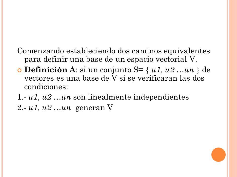 Comenzando estableciendo dos caminos equivalentes para definir una base de un espacio vectorial V.