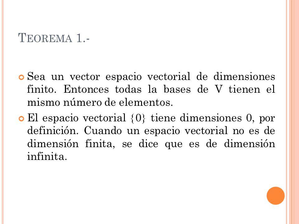 Teorema 1.- Sea un vector espacio vectorial de dimensiones finito. Entonces todas la bases de V tienen el mismo número de elementos.