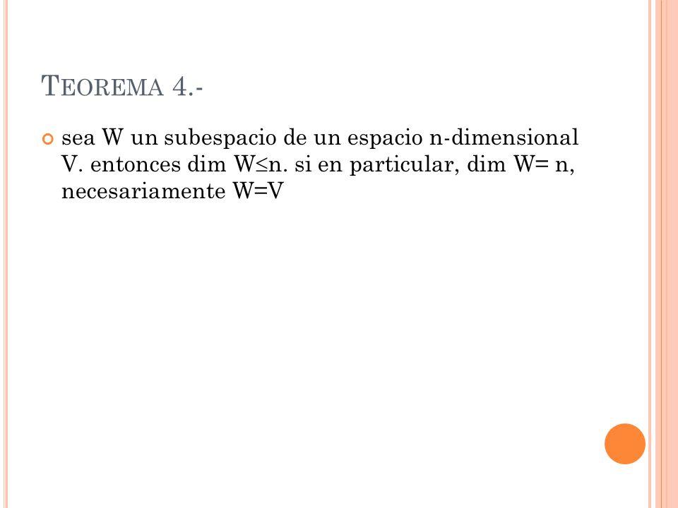 Teorema 4.- sea W un subespacio de un espacio n-dimensional V.