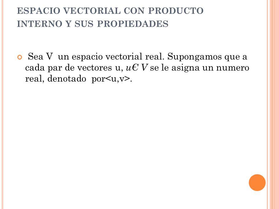 espacio vectorial con producto interno y sus propiedades