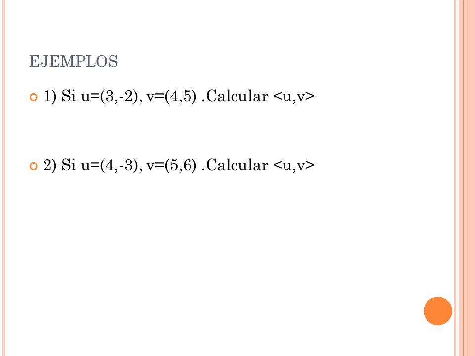 ejemplos 1) Si u=(3,-2), v=(4,5) .Calcular <u,v>