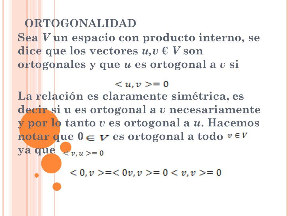 ORTOGONALIDAD Sea V un espacio con producto interno, se dice que los vectores u,v € V son ortogonales y que u es ortogonal a v si.