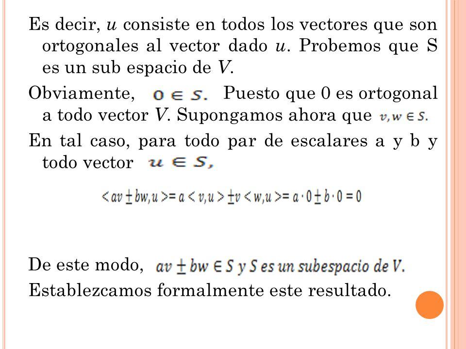 Es decir, u consiste en todos los vectores que son ortogonales al vector dado u.