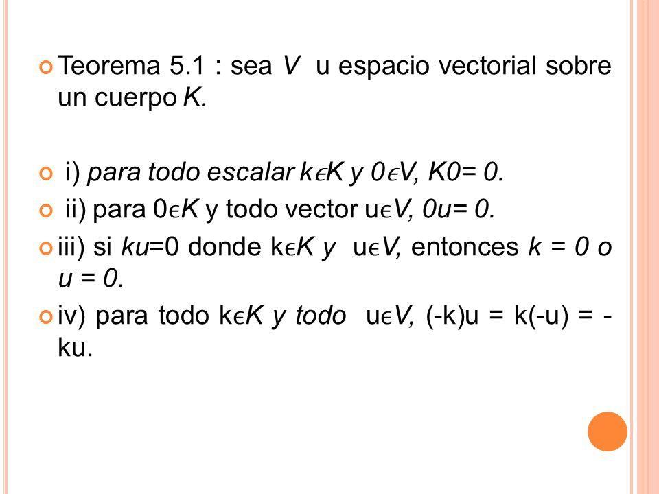 Teorema 5.1 : sea V u espacio vectorial sobre un cuerpo K.