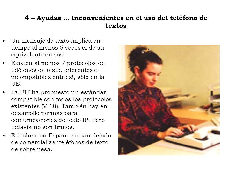 4 – Ayudas … Inconvenientes en el uso del teléfono de textos