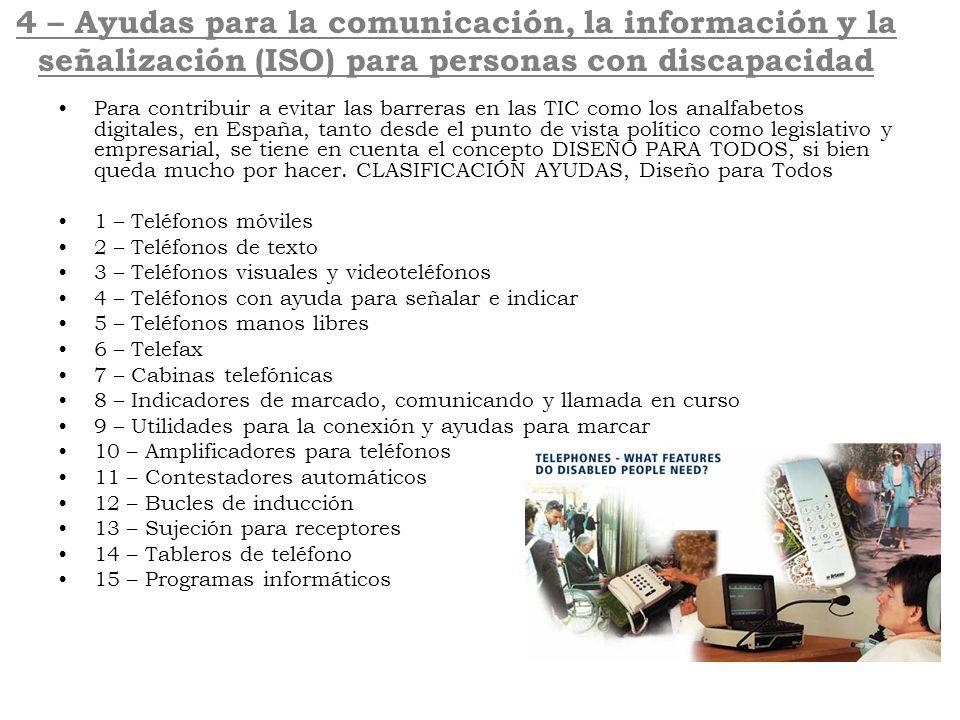 4 – Ayudas para la comunicación, la información y la señalización (ISO) para personas con discapacidad