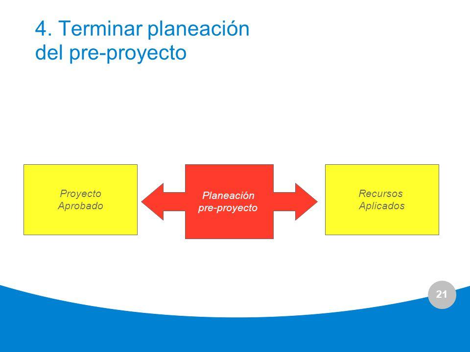 4. Terminar planeación del pre-proyecto