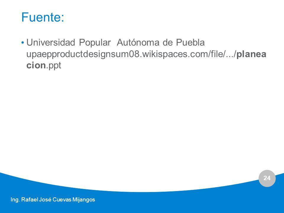 Fuente: Universidad Popular Autónoma de Puebla upaepproductdesignsum08.wikispaces.com/file/.../planeacion.ppt.