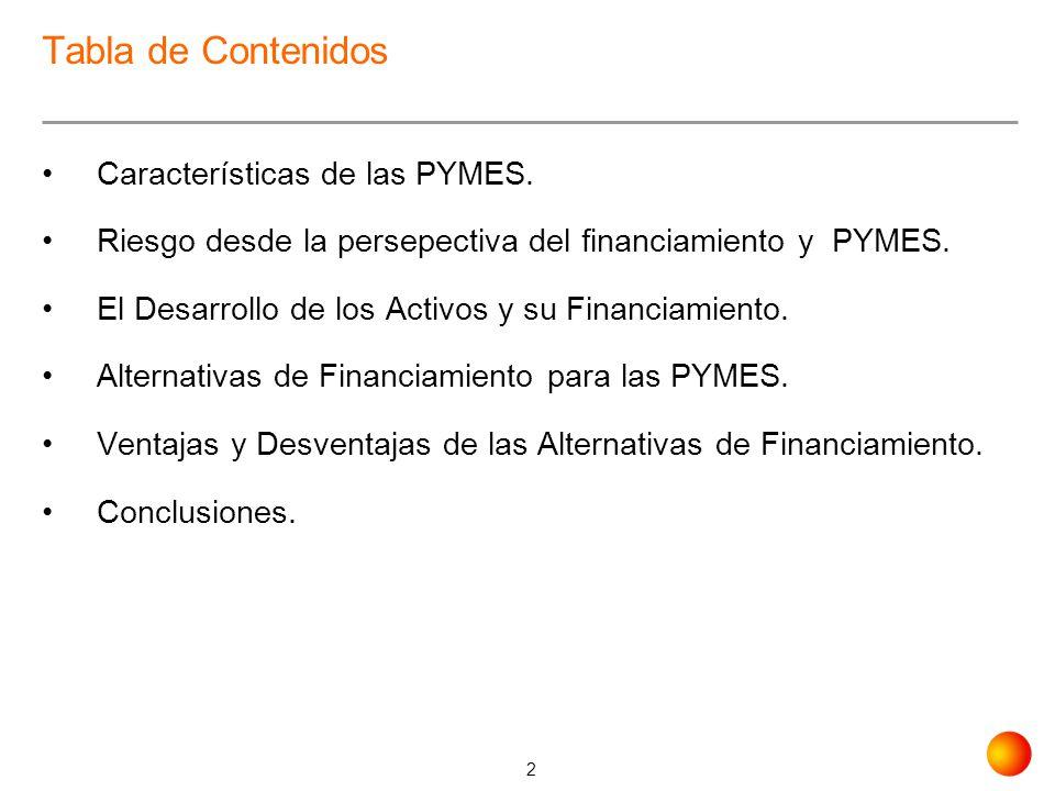 Tabla de Contenidos Características de las PYMES.