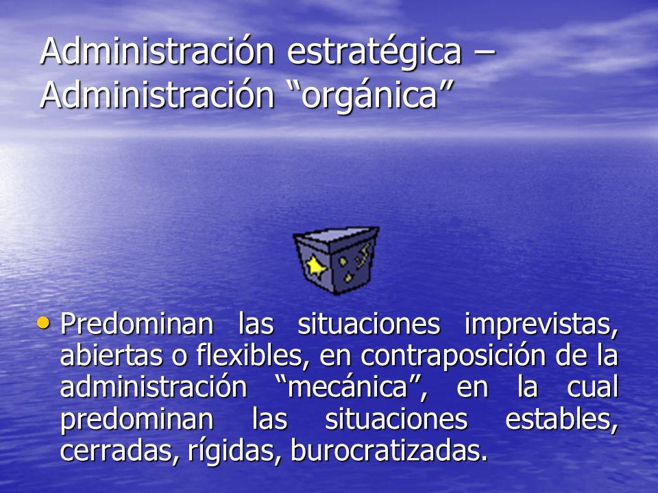 Administración estratégica – Administración orgánica