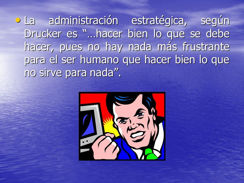 La administración estratégica, según Drucker es …hacer bien lo que se debe hacer, pues no hay nada más frustrante para el ser humano que hacer bien lo que no sirve para nada .