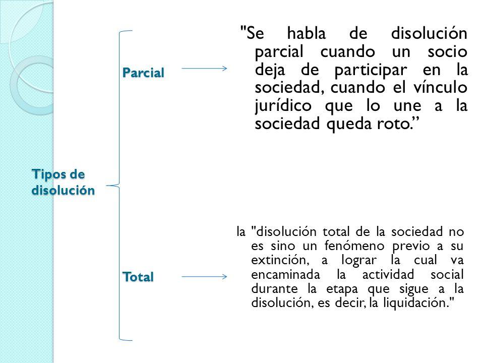 Se habla de disolución parcial cuando un socio deja de participar en la sociedad, cuando el vínculo jurídico que lo une a la sociedad queda roto.